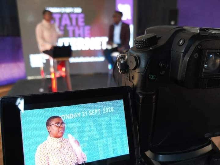 Koliwe captured giving her State of Internet in Zimbabwe keynote | PIC: Shoko Festival, Magamba Network
